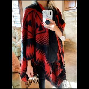 Express Red and black poncho